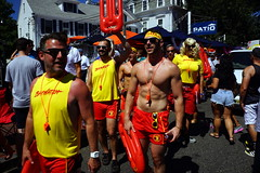 Pre Carnival Parade, Provincetown MA (Boston Runner) Tags: carnival provincetown massachusetts ptown backtothe80s 2016 tvshow shirtless lifeguard group costume baywatch