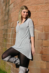 Stefanie 20 (The Booted Cat) Tags: sexy blonde cute teen girl model boots minidress pantyhose nylon