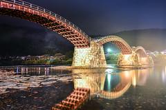 (DSC_1938) (nans0410(busy)) Tags: japan yamaguchi iwakunishi iwakuni kintaibridge nightview outdoors scenery bridge light reflection archbridge nishikiriver chugojuregion