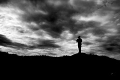 Silhouette in the Lake District, England (www.ziggywellens.com) Tags: silhouette bw blackandwhite blackwhite monochrome lake district england clouds cloudy hill contrast shadows dark day