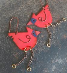 Red Bird Earrings (Vintajia Adornments) Tags: enamel birdearrings cardinal