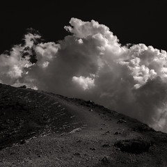 Going Up (Marshall Ward) Tags: mtetna sicily italy volcano landscape cloudscape cloudporn mono blackwhite 2016 hiking sky bigsky marshallward nikond800 afszoomnikkor2470mmf28ged