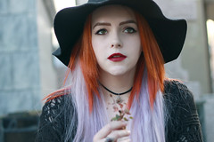 (Anaz Dessartre) Tags: cemetery cross catholic death buried tomb hat witch goth gothic darklips pentagram grave girl redhead ginger lilachair flower dead ring necklace choker black