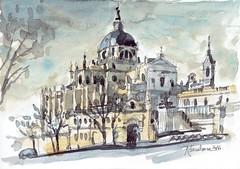 Almudena 2016 (P.Barahona) Tags: dibujo acuarela catedral almudena madrid lpiz urbano