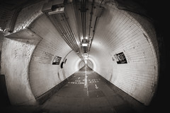 41/52 (2016): Woolwich Tunnel [sepia] (Sean Hartwell Photography) Tags: woolwichtunnel woolwich newham east london riverthames thames t england uk tunnel fisheye samyang8mm canoneosm blackandwhite monochrome sepia