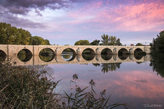 Puente de Torquemanda (Casimemato) Tags: puente torquemada nubes color colors atardecer reflejos reflections rio river bridge palencia castillaylen pueblos espaa sunset