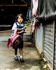 Back from School (christophe plc) Tags: xt1 girl hmong chianmai thailand street school photo fuji flickr outside mirroless