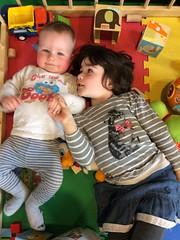 Crowd (kayatkinson-simson) Tags: maya kane brotherandsister siblings cookiemonster playpen toytruck buildingblocks teethingbaby