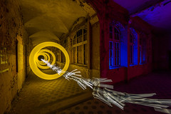 one ring to rule them all (ZOLAQ) Tags: lights lightpainting olympus omd lightart lightartphotography zolaq berlin hamburg lostplace place beelitz heilsttten beelitzheilsttten abandoned yellow ring rings lichtkunst lichtkunstfotografie