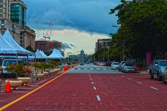 long view (Rajavelu1) Tags: road street streetphotography building architecture art aroundtheworld artland creative canonef70200f4llens canon6d putrajaya malaysia red car sky bluesky green trees plant