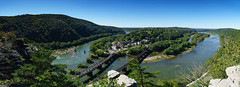 Harpers Ferry (netslacker) Tags: a6300 harpers ferry maryland heights panorama sony selp18105g shenandoah potomac rivers converge blue sky green folliage train bridge