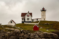 Nubble Lighthouse, Maine (Jill Clardy) Tags: 201610094b4a8399e nubble lighthouse neddick point maine rain rainy storm northeast autumn stormy day clouds cloudy