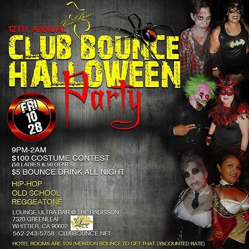 THE 12th ANNUAL CLUB BOUNCE HALLOWEEN PARTY!   WE DO IT LIKE NO ONE ELSE CAN!   $100 COSTUME CONTEST ($50 ladies $50 gents)   Club Bounce -Where size & style meet  @ The Radisson Hotel   Lounge Ultra Bar  7320 Greenleaf Ave, Whittier Ca 90602  (WE ARE NOT
