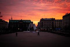 A November Drama (ewitsoe) Tags: november ewitsoe street sky clouds red glow early sunrsie dawn placwolnosci nikond80 35mm city polska euroep europe storm cloudy weather
