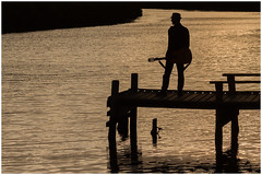 Dreaming of his next big hit (RissaJT_23) Tags: guitar jetty kororoitcreek water river rockstar music musical musicalinstrument canon canon6d canoneos6d canon70200mm sunset silhouette