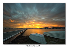 Belmont Sunset (Rhys Newton Photography) Tags: longexposure sunset cloud sun lake reflection beach water clouds canon newcastle jetty australia nsw density neutral nd400 600d