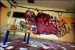 Soez (LF) (Chrixcel) Tags: abandoned graffiti heart tag lf exploration urbex firme anatomical viscères soez artères anatomique hôpitalabandonné tabledejeux