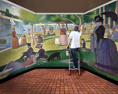 121-365 Touching Up a Seurat (Paul K.-QuixoteImages) Tags: up composite work painting touch conceptual georgesseurat asundayonlagrandejatte pointelism quixoteimagescom artmockery