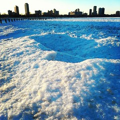 IMG_20130303_171619 (get directly down) Tags: winter lake snow chicago ice beach skyline michigan horizon north avenue