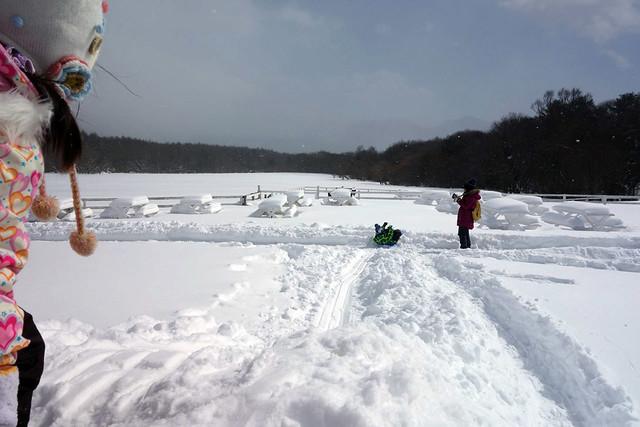 手作りの雪の滑り台ということもあり、結構バランスを取らない。|キープファームショップ