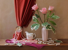 Truth of Imagination. (Esther Spektor) Tags: pink flowers red roses stilllife orange brown white color colour green art texture crimson leaves coral composition scarf canon cord petals spring stem beige ceramics pattern availablelight decorative ivory mint shell stilleben fringe rope fabric fantasy vase mauve imagination esther drape bouquet pitcher buckle arrangement porcelain tabletop bodegon naturemorte artisticphotography naturamorta spektor photomix naturezamorta coth creativephotography artwwork artdigital bej artofimages exoticimage bestevercompetitiongroup eshterspektor