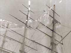 Cutty Sark and Lights (kayandnight) Tags: blackandwhite london lights doubleexposure cuttysark
