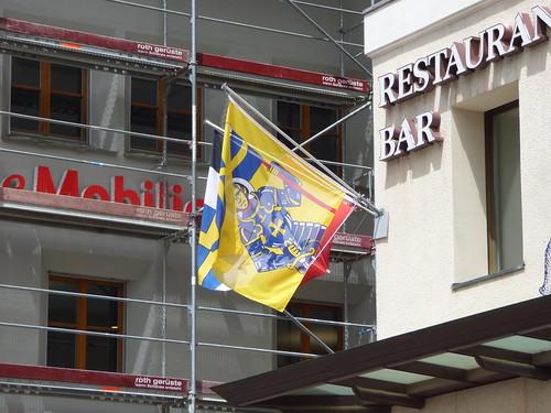 Via Maistra, St Moritz - flags