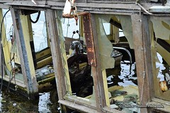 Glasson Dock near Lancaster, Lancashire UK (@CyprusPictures) Tags: glassondock marina canal towpath lancashire lancaster daysoutinlancashire thulbornchapmanphotography sunkensailingboat sunkenboat wheelhouse helm shipwreck