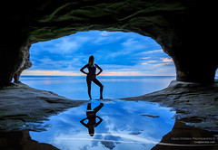 Sea Cave Silhouette (Craig - S) Tags: lakesuperior greatlakes upperpeninsula michigan travel tourism cove seacave cave coastal rock wilderness wild outdoors nature girl woman silhouette pose