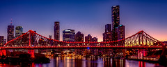 Story Bridge sunset. (Kent Wilkins) Tags: storeybridge brisbane queensland australia panoramic sunset cityscape dusk skyline river nightscape city