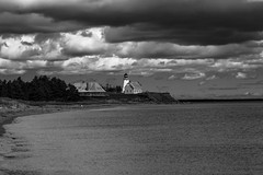 Shores Of Panmure Island (|SNAPShots| by: Patrick J.Whitfield) Tags: lighthouse sunlight outside seaside shore paysage bw clouds water landscapes nature rocks beach