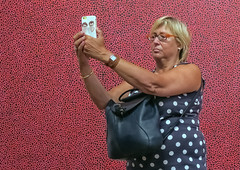 (Dale Michelsohn) Tags: moderna selfie iphone camera spots polka woman red dalemichelsohn canon g5x