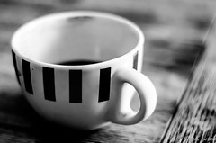 simple things (Octav Bobe) Tags: coffee cup bw monochrome wood stripes bokeh blur selectivefocus shallowdepth shapes dof perspective