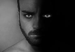 Light and darkness (larosa.miki) Tags: biancoenero bew bw black white eyes beard darkness light protrait man model night