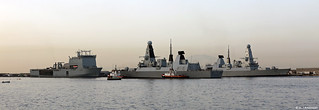 Royal Navy Type 45 Destroyers HMS Daring (D32) & HMS Diamond (D34) & RFA Mounts Bay at HM Naval Base, Gibraltar