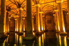 Underground Basilica Cistern (Yerebatan Sarnici) in Istanbul, Turkey (chrisdingsdale) Tags: cistern istanbul basilica bosphorus underground yerebatan old islam empire turkey medieval brick arch stone tank travel lamp turkish illuminated red column civilization middle justinian history touristic sultan light east constantinople dark historic mirror sultanahmed reflection architecture interior colorful inside illumination reservoir tourism golden byzantine ancient indoor water sultanahmet symmetry storage