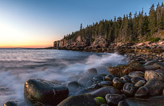 Otter Cliff (IRRphotography) Tags: acadia nationalpark maine pine rocks ocean waves longexposure trees sunrise ottercliff canon 70d eos desertisland eastcost coastline