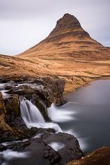 Go with the Flow (sk_husky) Tags: iceland kirkjufell kirkjufellfoss mountain water waterfall reflection rocks grass sky clouds dusk landscape beauty beautiful canon outdoor serene longexposure bwfilter nd neutraldensity
