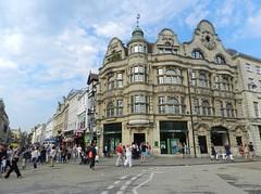 Oxford City Centre, Oxford, Sep 2016 (allanmaciver) Tags: city centre oxford england street scene lloyds bank people walk corner weather blue sky clouds allanmaciver