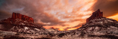 Two Towers () Tags: wallpapers 2013 butte d800e moab nikon november panorama sandstone snow wboland