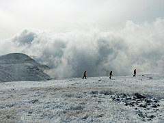 Almost above the clouds (annkelliott) Tags: alberta canada southernalberta southofcalgary sedgeofkananaskis plateaumountain plateaumountainecologicalreserve ontopofflatplateau nature scenery landscape cloud snow nearedgeofmountaintop person people friends man woman child colourfuljackets rock rocks snowcovered outdoor fall autumn 6c likewinter 5october2016 fz200 fz2004 annkelliott anneelliott anneelliott2016 allrightsreserved