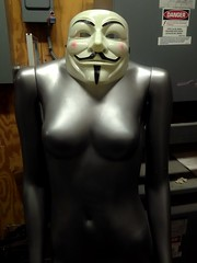 Hiding out in the electrical closet (PhotoJester40) Tags: indoors inside femaleform mannequin mask guyfawkes closet nakedmanneqin