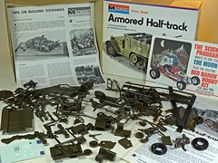 Military Plastic Kits I Grew Up With No.76 – Monogram – 1/35 Armoured Half-Track M-16 Multiple Gun Motor Carrier – Contents (My Toy Museum) Tags: nostalgia nostalgic plastic kit monogram us army m16 multiple gun motor carrier armoured armored half track