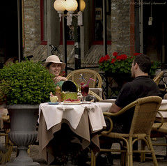 Beloved Brugge (Natali Antonovich) Tags: belovedbrugge brugge bruges oldtown belgium belgie belgique portrait lifestyle relaxation couple pair together heandshe terras cafe lovestory romance hatisalwaysfashionable hat hats tradition stare