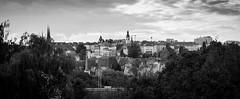 Luxembourg City Skyline (Natural Photography by CJH) Tags: landscape luxembourg bw blackwhite black white city cityscape nikon d750 50mm prime f18 skyline lux crane progress development preservation town building spire