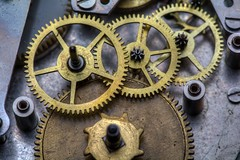 Clock Guts (benevolentkira7) Tags: clock antique gears gear old time slow fast teeth tooth spin spiral around gold silver macro close