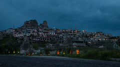 Uchisar (Ash and Debris) Tags: rock houses cappadocia city evening turkey rocks lights habitat town house uchisar architecture night clouds village sky light uã§hisar nevåehir tr