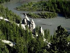 Hoodoos (Stefan Jrgensen) Tags: hoodoo bowriver sony dsctx20 tx20 canada 2013 canadianrockies banff alberta valley trees river water forest hoodoos bowrivervalley banffnationalpark