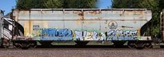Airen/Tel/Raket (quiet-silence) Tags: graffiti graff freight fr8 train railroad railcar art airen tel raket ffl hopper bo intx intx472144