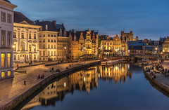 Korenlei, Gent (urbanexpl0rer) Tags: city longexposure water cityscape belgium streetphotography historical bluehour gent oldcity streetshot waterreflections canalhouses korenlei